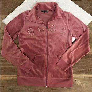 Velvety rhinestone zip jacket size small